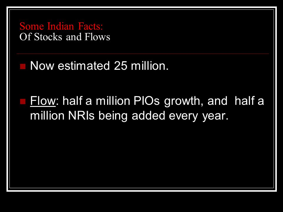 Some Indian Facts: Of Stocks and Flows Now estimated 25 million.