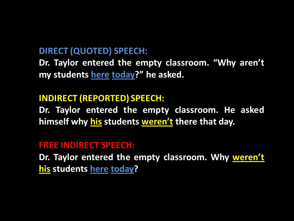 """DIRECT (QUOTED) SPEECH: Dr. Taylor entered the empty classroom. """"Why aren't my students here today?"""" he asked. INDIRECT (REPORTED) SPEECH: Dr. Taylor"""