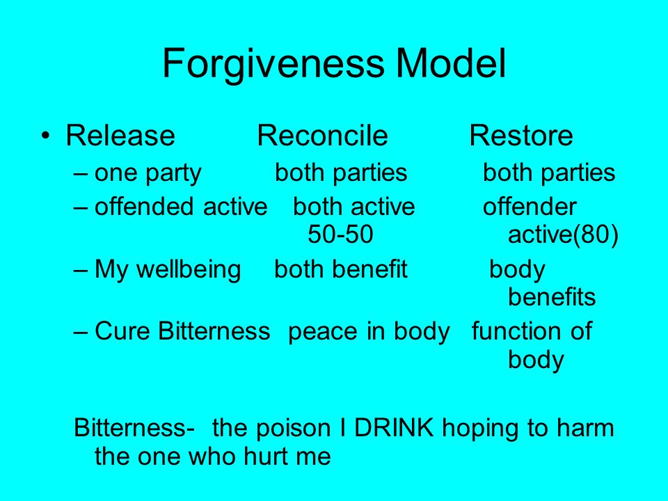 FORGIVENESS Release Reconciliation Restoration –one party –offended alone active –My wellbeing –Cure Bitterness Bitterness- the poison I DRINK hoping to harm the one who hurt me Eph.