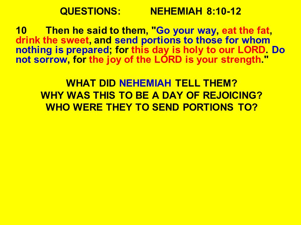 QUESTIONS:NEHEMIAH 8:10-12 10Then he said to them,