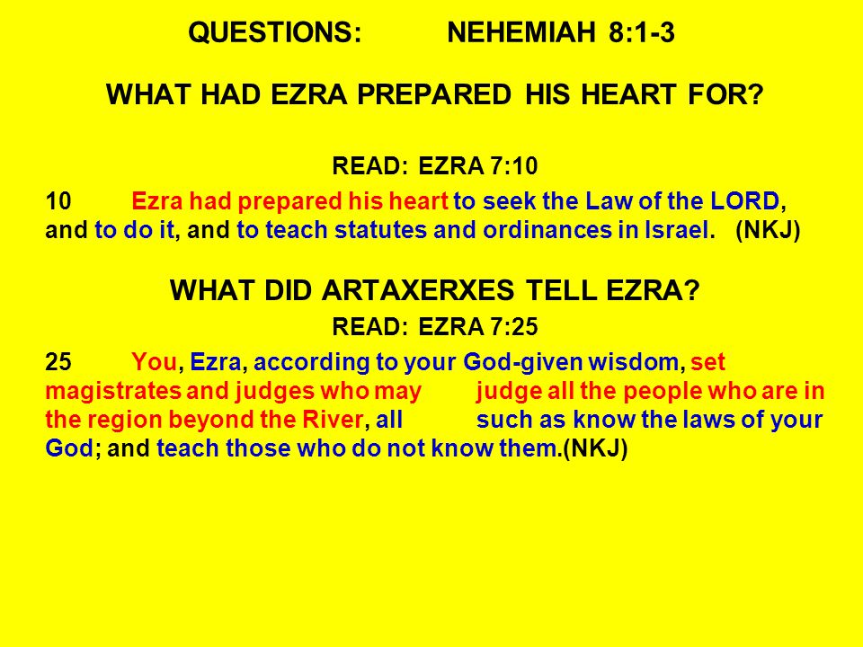 QUESTIONS:NEHEMIAH 8:1-3 WHAT HAD EZRA PREPARED HIS HEART FOR.