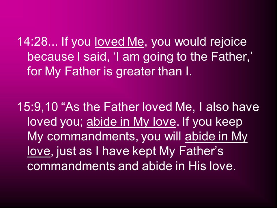 "14:28... If you loved Me, you would rejoice because I said, 'I am going to the Father,' for My Father is greater than I. 15:9,10 ""As the Father loved"