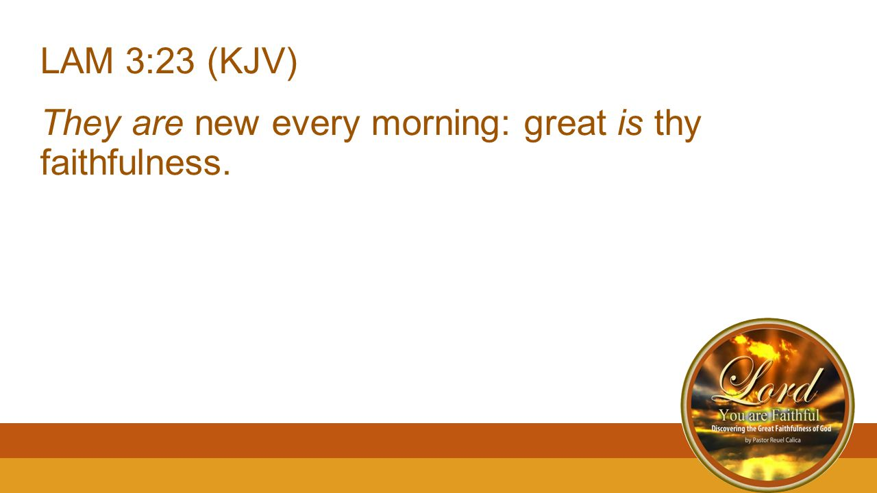 LAM 3:23 (KJV) They are new every morning: great is thy faithfulness.