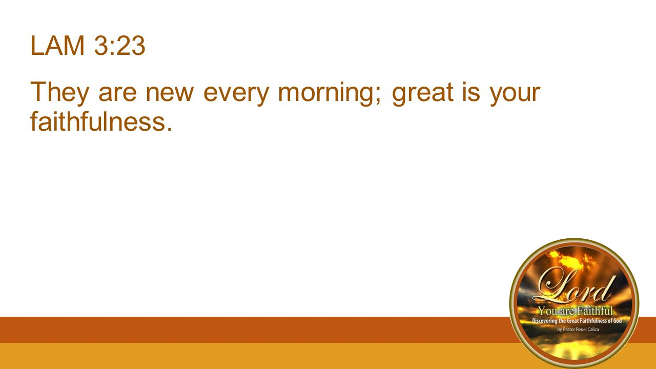 LAM 3:23 They are new every morning; great is your faithfulness.