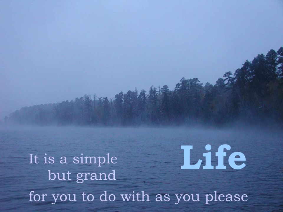 Life It is a simple but grand for you to do with as you please