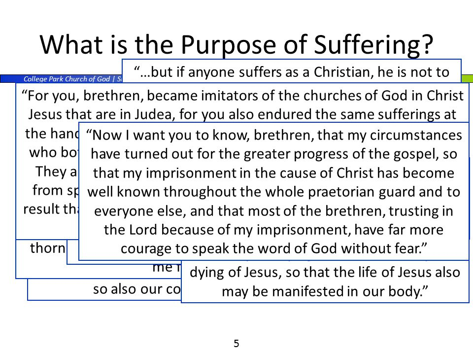 College Park Church of God | Sunday PM | Young Adults 5 What is the Purpose of Suffering.