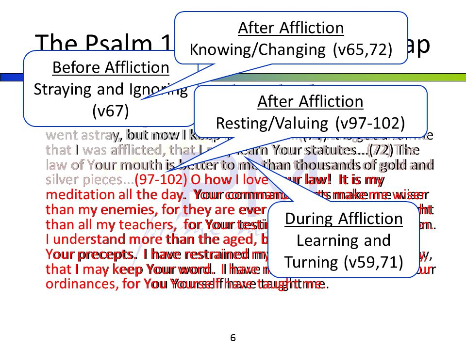 College Park Church of God | Sunday PM | Young Adults 6 (59) I considered my ways and turned my feet to Your testimonies...(65) You have dealt well with Your servant, O LORD, according to Your word...(67) Before I was afflicted I went astray, but now I keep Your word...(71) It is good for me that I was afflicted, that I may learn Your statutes...(72) The law of Your mouth is better to me than thousands of gold and silver pieces...(97-102) O how I love Your law.