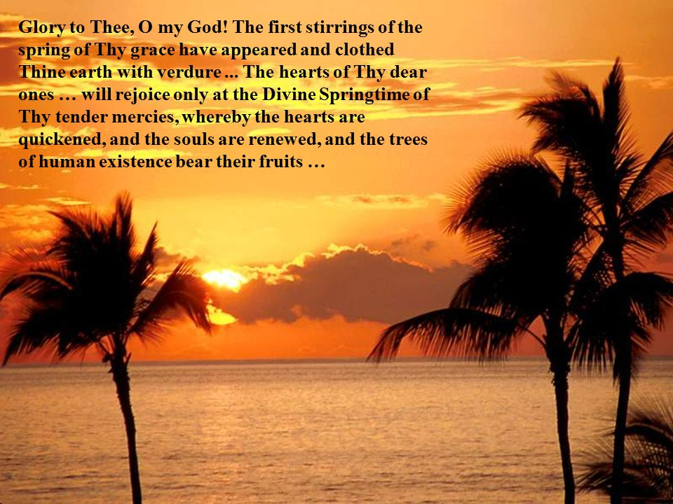 … with the spiritual cycles of the Prophets  that is to say, the day of the appearance of the Holy Manifestations is the spiritual springtime; it is the divine splendor; it is the heavenly bounty, the breeze of life, the rising of the Sun of Reality.