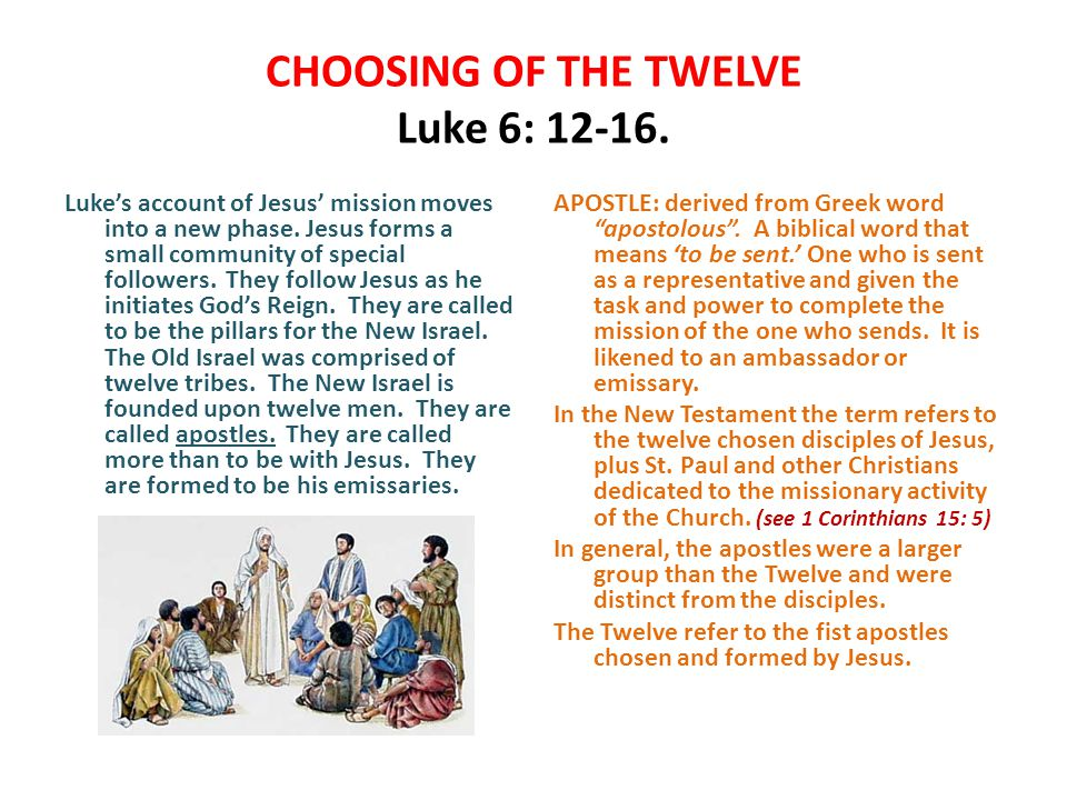 CHOOSING OF THE TWELVE Luke 6: 12-16. Luke's account of Jesus' mission moves into a new phase.