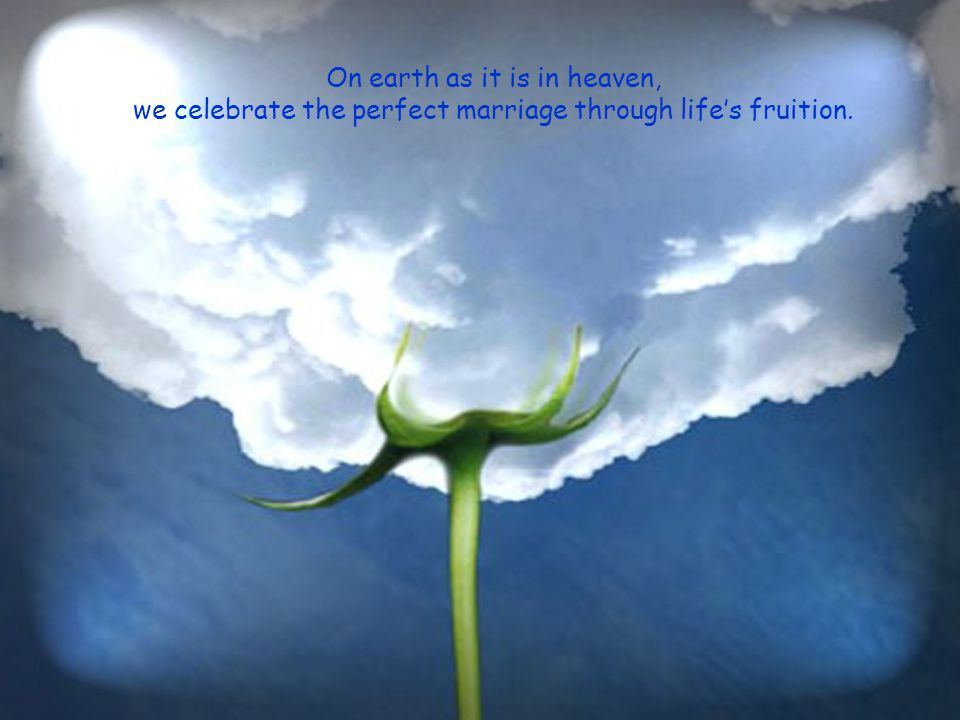 On earth as it is in heaven, we celebrate the perfect marriage through life's fruition.