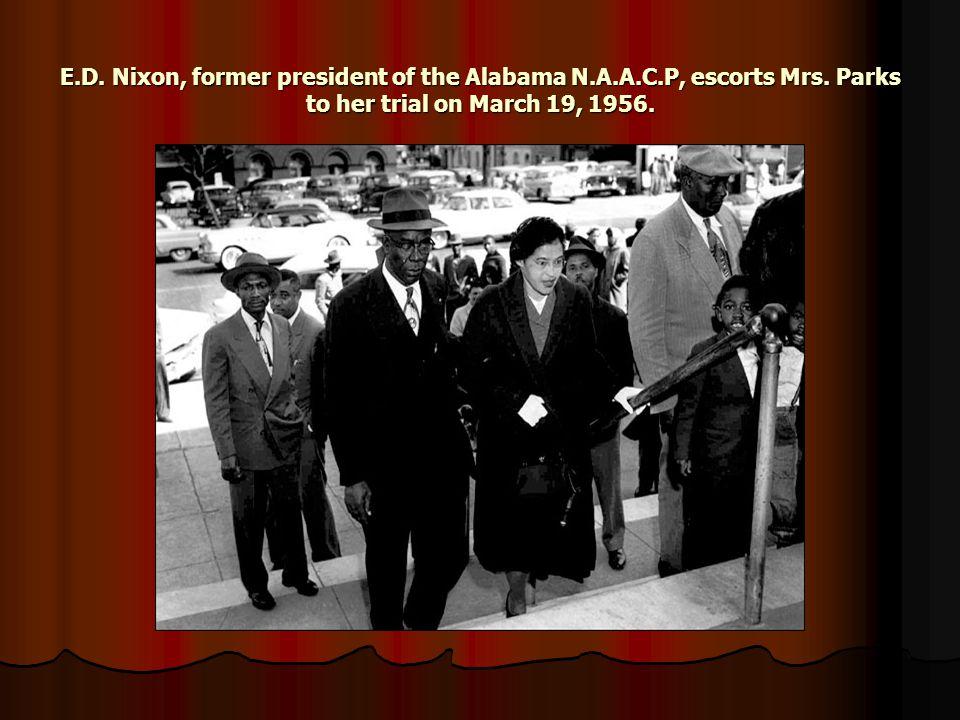 E.D. Nixon, former president of the Alabama N.A.A.C.P, escorts Mrs.