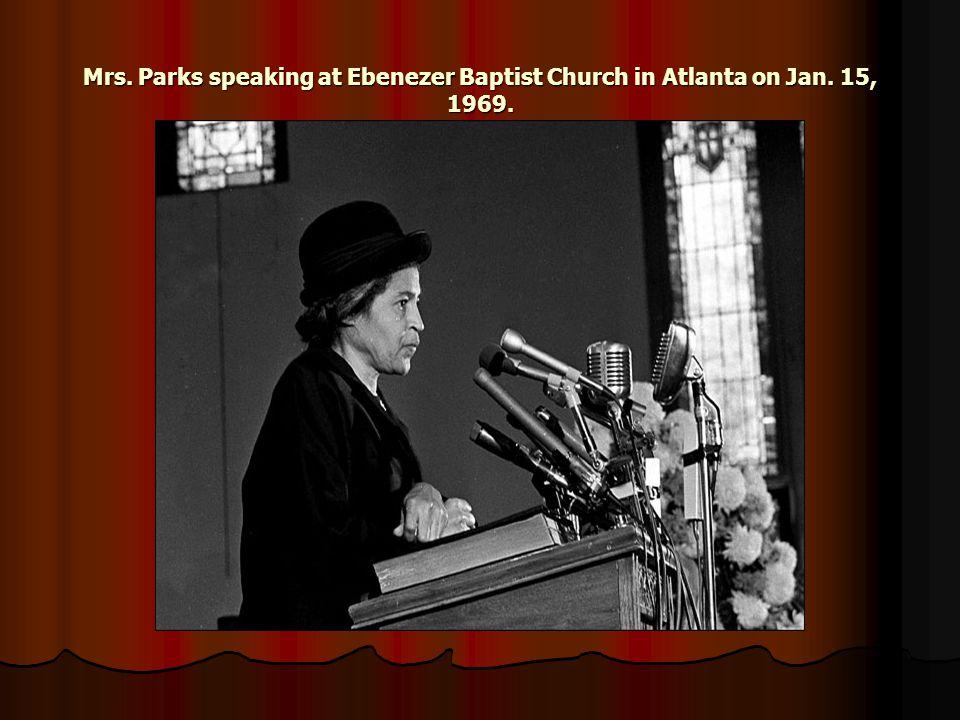 Mrs. Parks speaking at Ebenezer Baptist Church in Atlanta on Jan. 15, 1969.