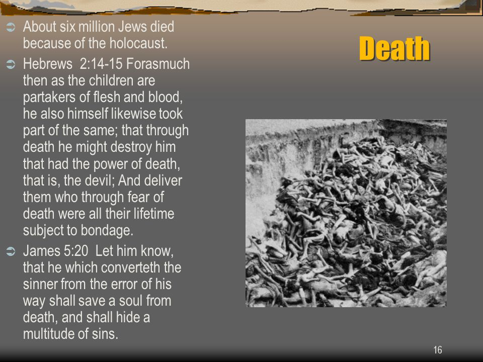 16 Death  About six million Jews died because of the holocaust.