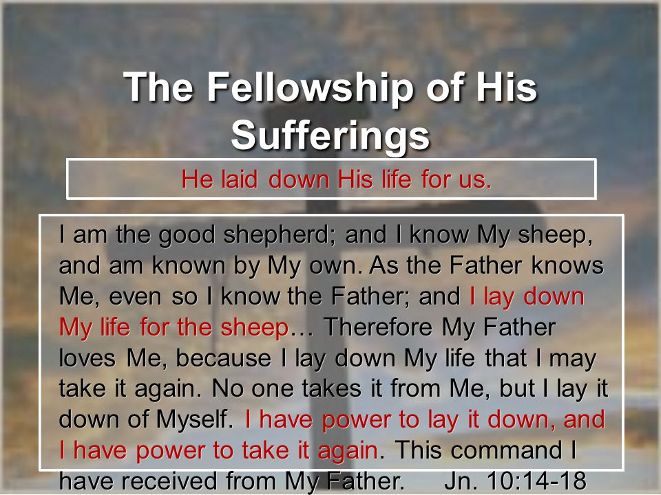 The Fellowship of His Sufferings He laid down His life for us.