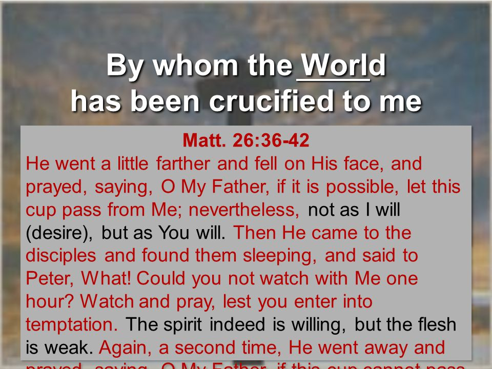 By whom the World has been crucified to me Flesh Your will be done on earth as it is in heaven.