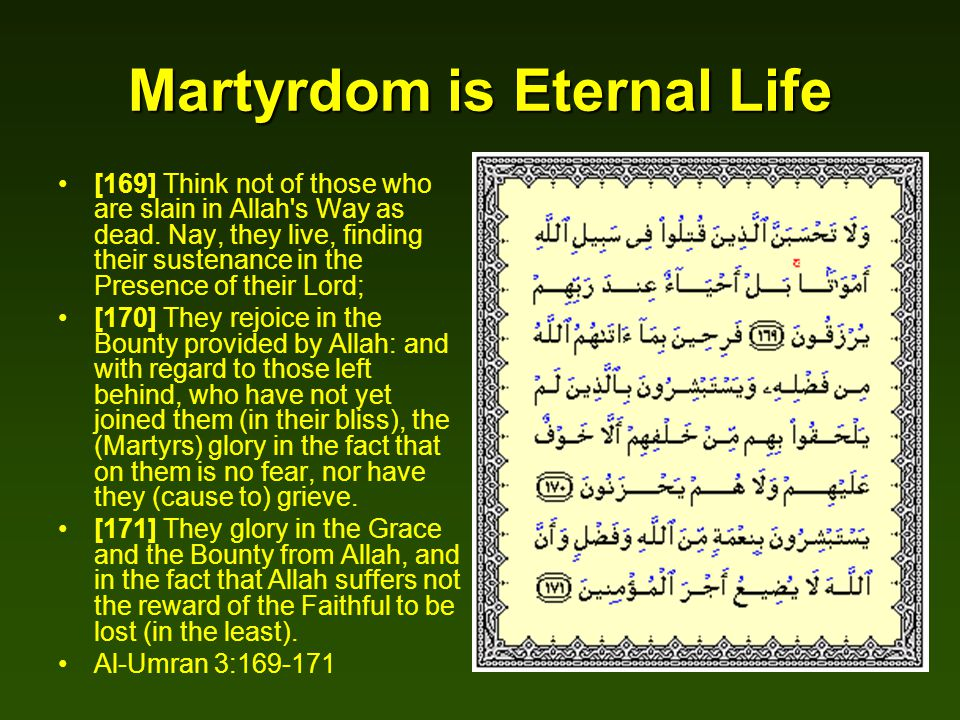 Martyrdom is Eternal Life [169] Think not of those who are slain in Allah's Way as dead. Nay, they live, finding their sustenance in the Presence of t