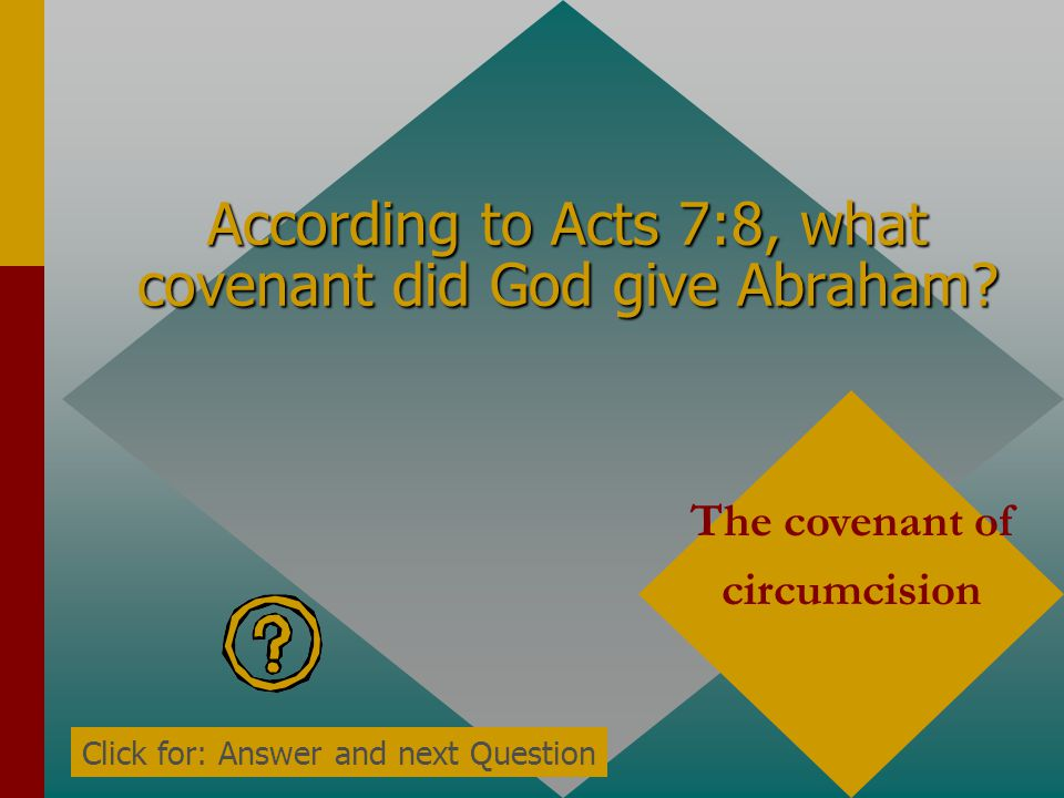 According to Acts 7:6, how long would Abraham's descendants be in bondage and opression in a foreign land? Four hundred years Click for: Answer and ne