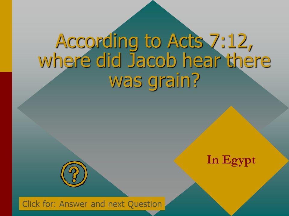 According to Acts 7:10, what came over Egypt and Canaan? A famine Click for: Answer and next Question