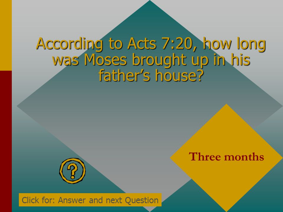 According to Acts 7:20, who was born during the time the babies were being allowed to die? Moses Click for: Answer and next Question