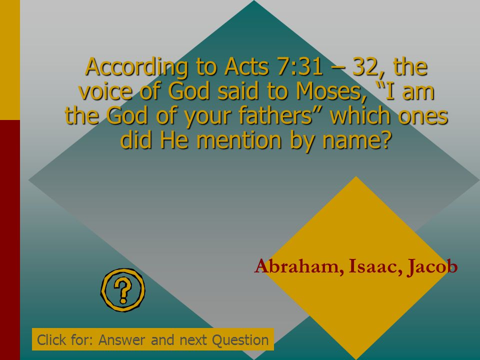 According to Acts 7:30, how did the Angel of the LORD appear to Moses? In a flame of fire in a bush Click for: Answer and next Question