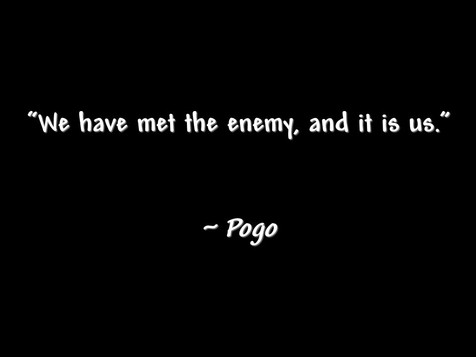 We have met the enemy, and it is us. ~ Pogo
