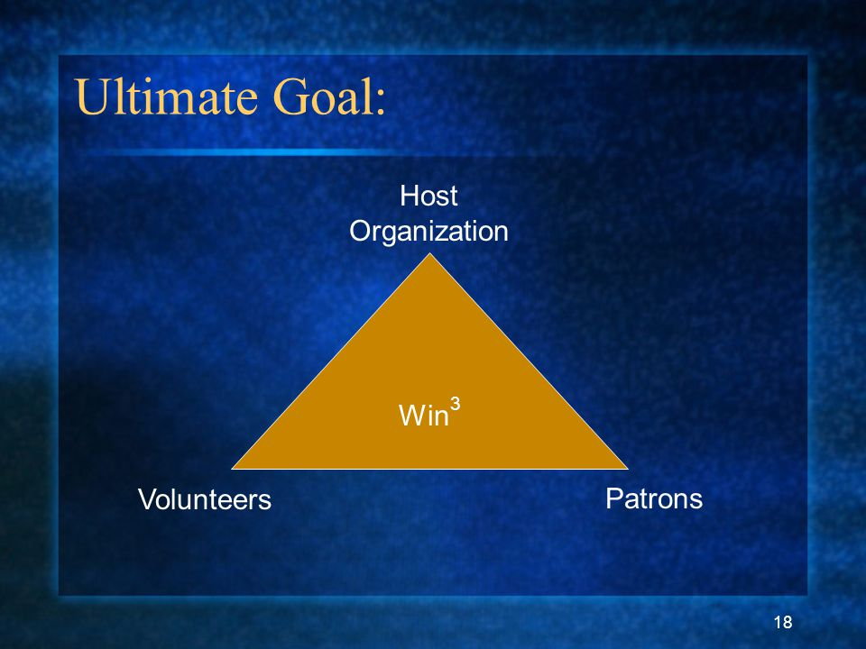 18 Ultimate Goal: Host Organization Patrons Volunteers Win 3