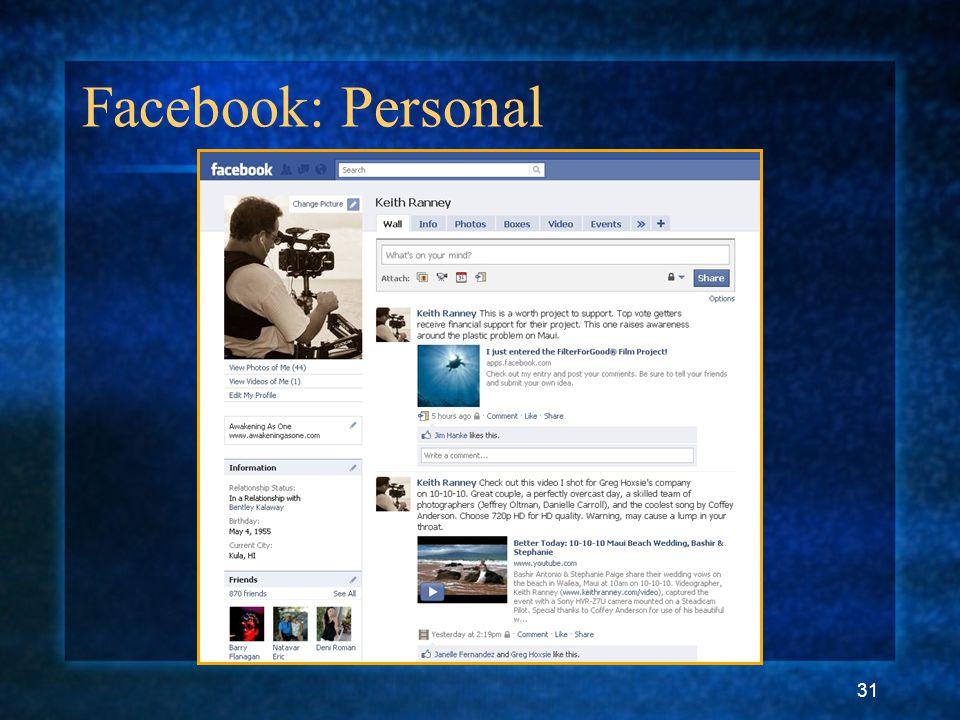 31 Facebook: Personal