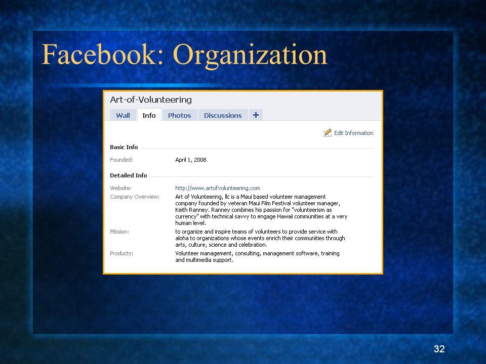 32 Facebook: Organization