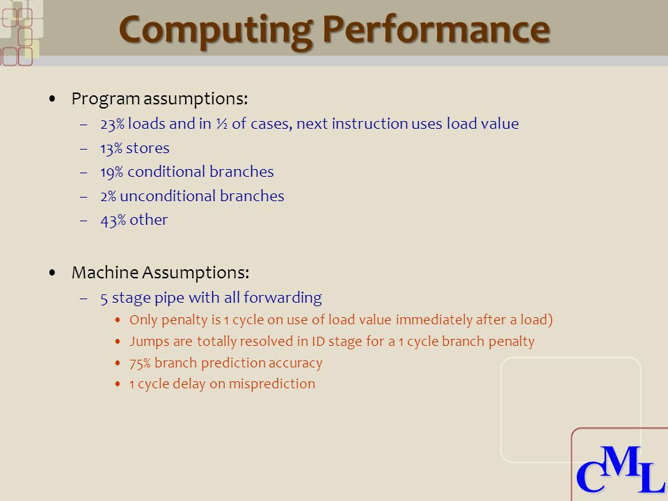 CML CML Computing Performance Program assumptions: –23% loads and in ½ of cases, next instruction uses load value –13% stores –19% conditional branches –2% unconditional branches –43% other Machine Assumptions: –5 stage pipe with all forwarding Only penalty is 1 cycle on use of load value immediately after a load) Jumps are totally resolved in ID stage for a 1 cycle branch penalty 75% branch prediction accuracy 1 cycle delay on misprediction