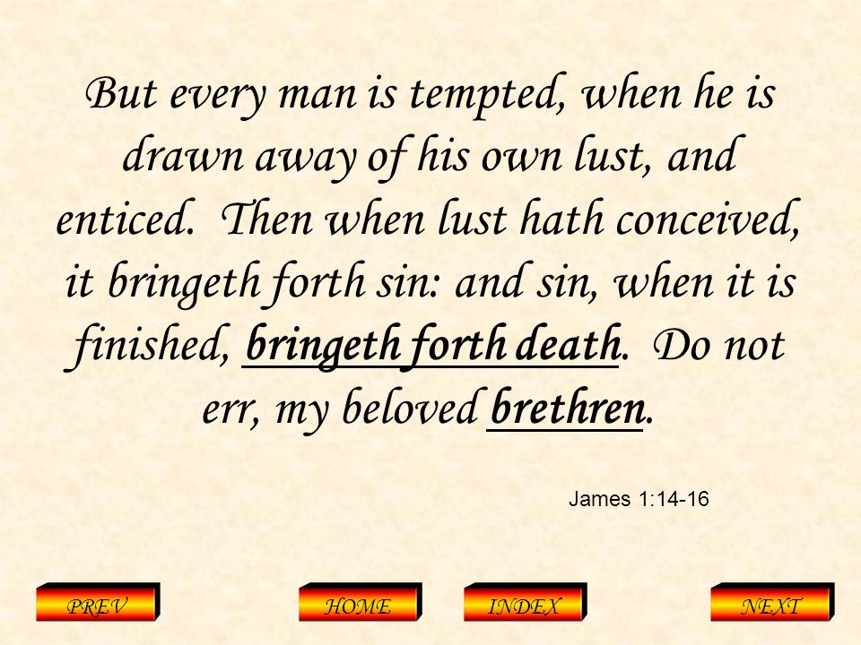 James 1:14-16 PREVHOMEINDEXNEXT But every man is tempted, when he is drawn away of his own lust, and enticed.