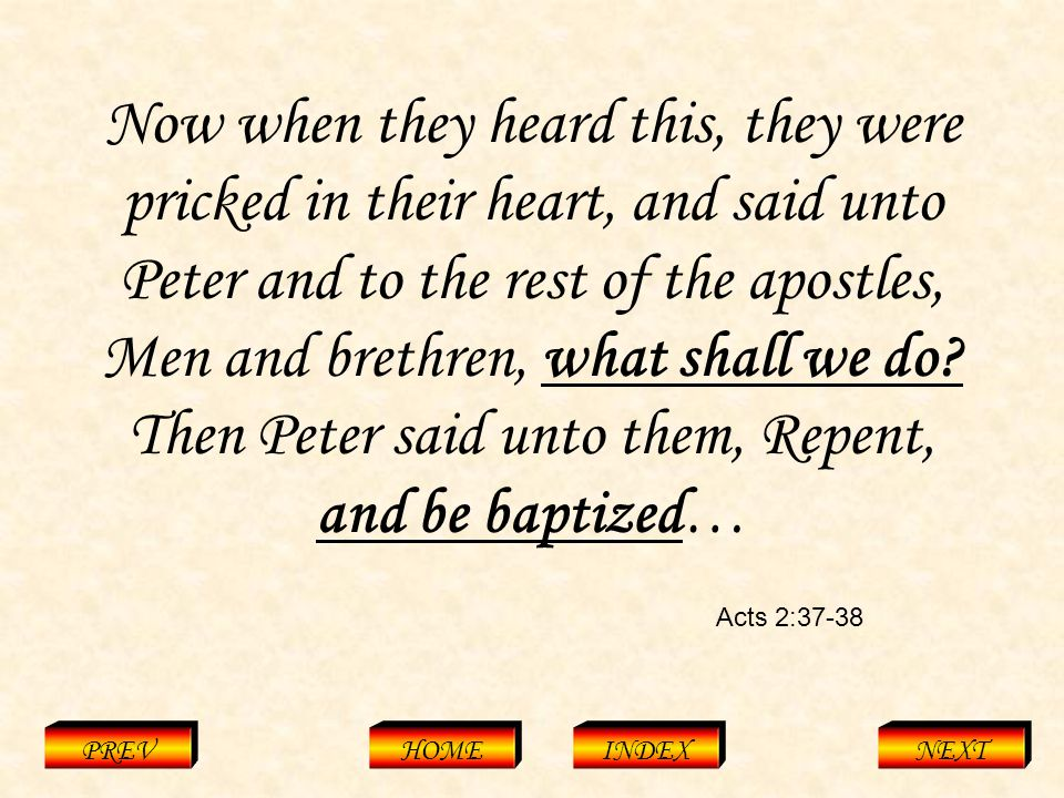 Acts 2:37-38 PREVHOMEINDEXNEXT Now when they heard this, they were pricked in their heart, and said unto Peter and to the rest of the apostles, Men and brethren, what shall we do.