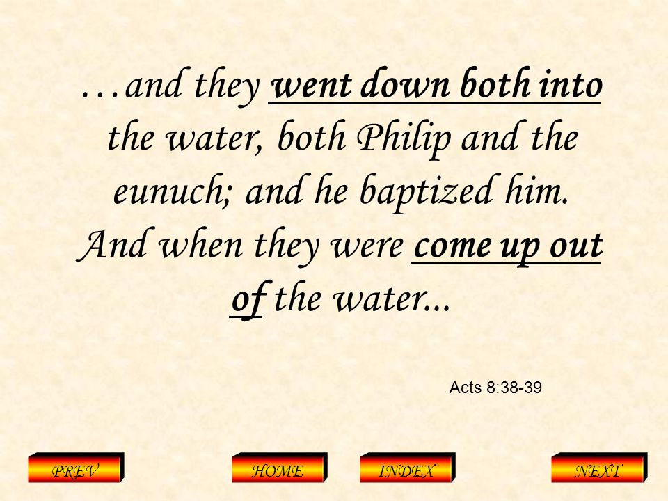 Acts 8:38-39 PREVHOMEINDEXNEXT …and they went down both into the water, both Philip and the eunuch; and he baptized him.