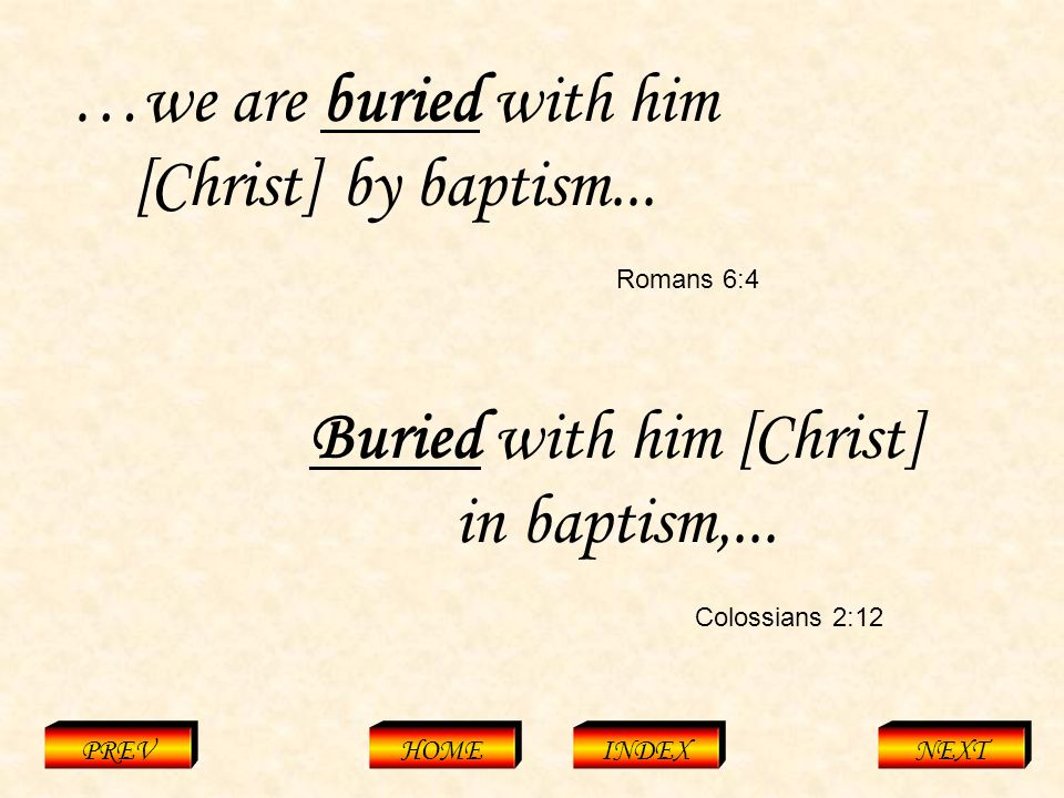 Colossians 2:12 PREVHOMEINDEXNEXT …we are buried with him [Christ] by baptism...