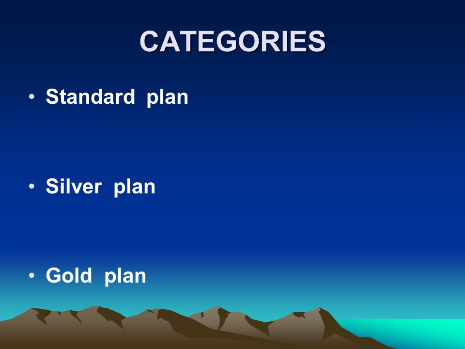 CATEGORIES Standard plan Silver plan Gold plan