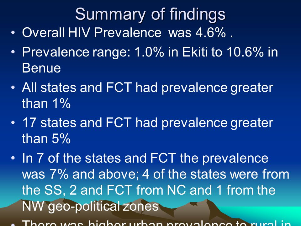 Summary of findings Overall HIV Prevalence was 4.6%. Prevalence range: 1.0% in Ekiti to 10.6% in Benue All states and FCT had prevalence greater than