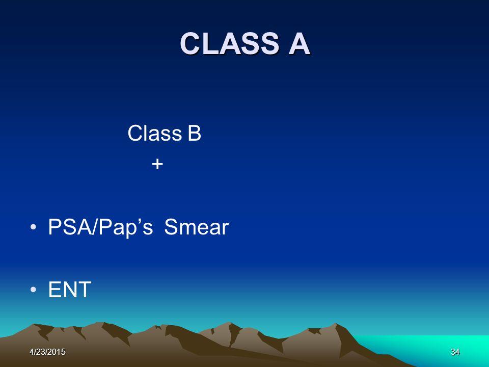 4/23/201534 CLASS A Class B + PSA/Pap's Smear ENT