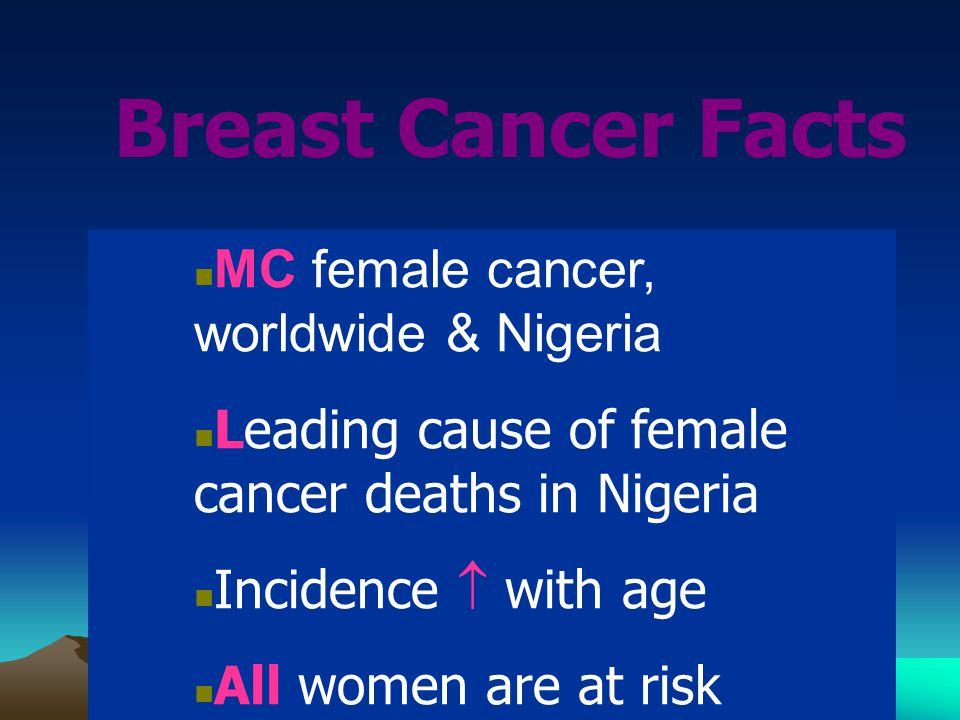MC female cancer, worldwide & Nigeria Leading cause of female cancer deaths in Nigeria Incidence  with age All women are at risk Breast Cancer Facts