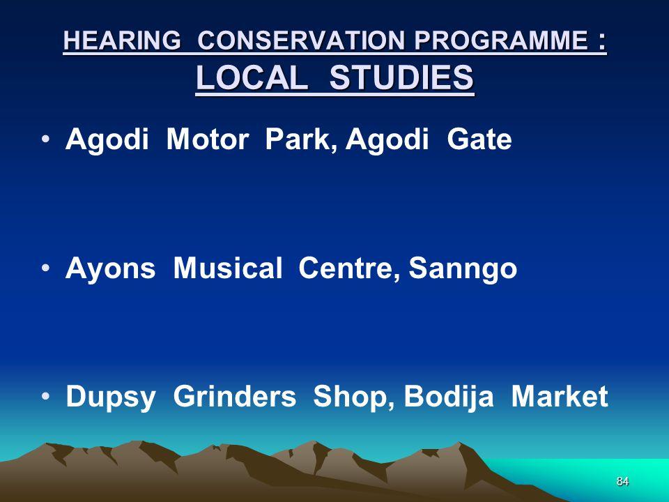 84 HEARING CONSERVATION PROGRAMME : LOCAL STUDIES Agodi Motor Park, Agodi Gate Ayons Musical Centre, Sanngo Dupsy Grinders Shop, Bodija Market