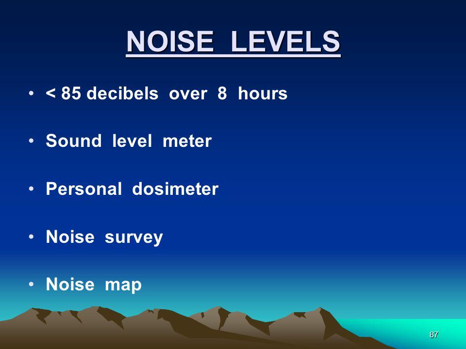 87 NOISE LEVELS < 85 decibels over 8 hours Sound level meter Personal dosimeter Noise survey Noise map