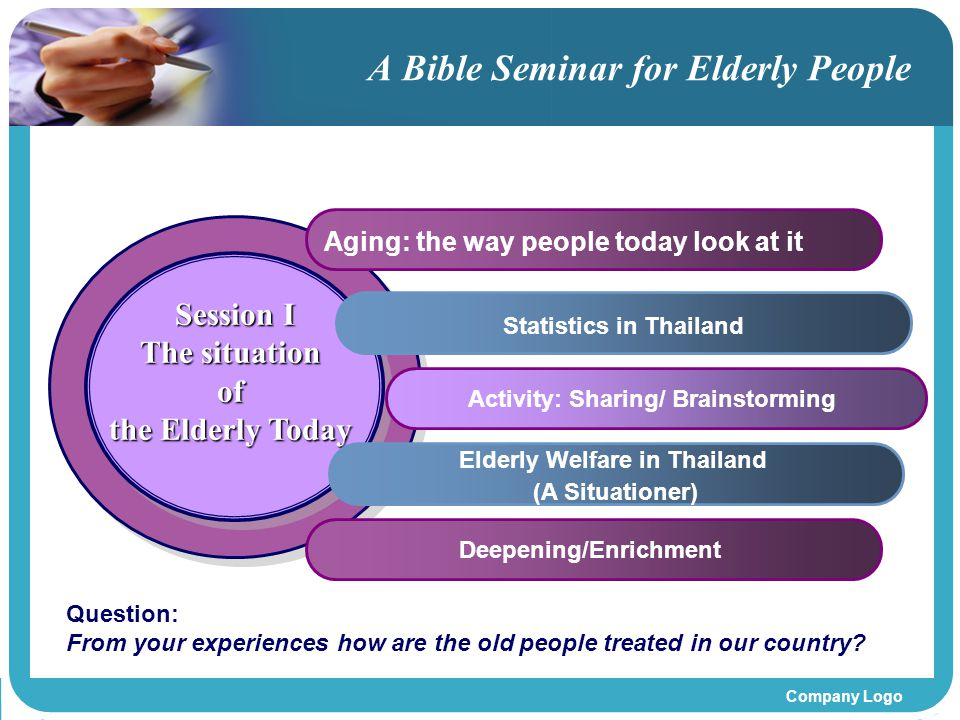 Company Logo A Bible Seminar for Elderly People Session I The situation of the Elderly Today Session I The situation of the Elderly Today Aging: the w