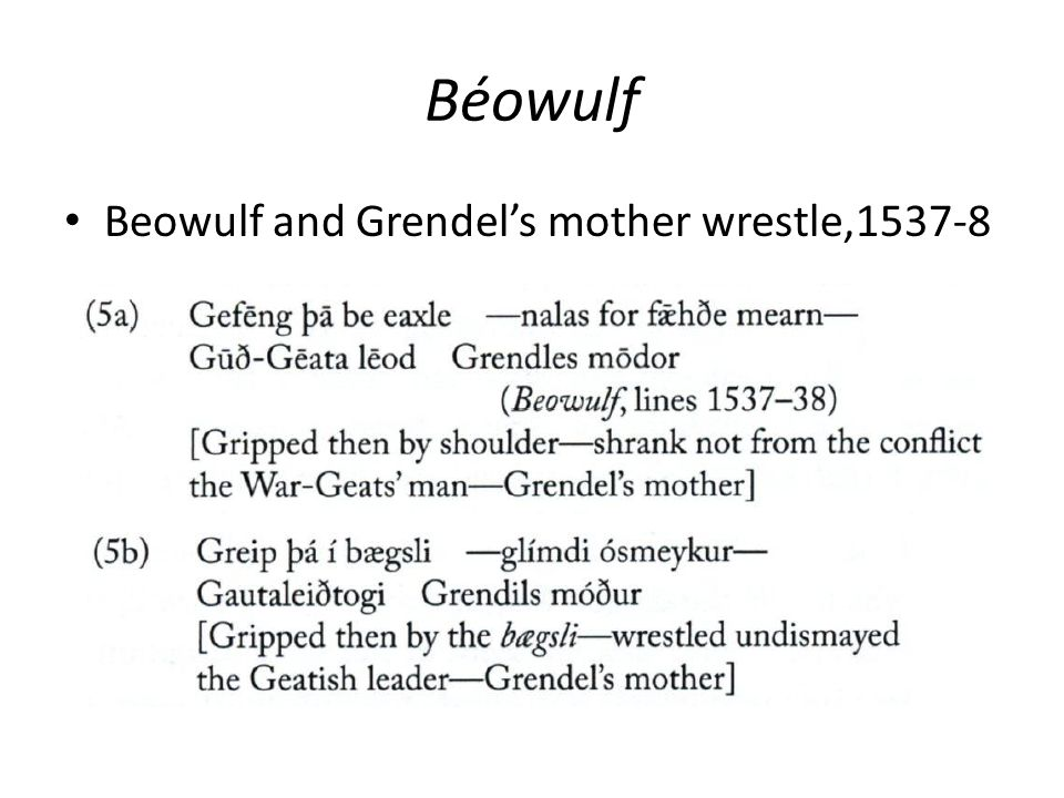 Béowulf Beowulf and Grendel's mother wrestle,1537-8