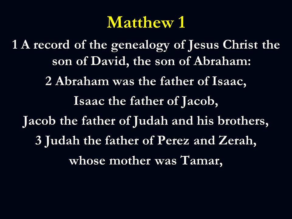 Matthew 1 Perez the father of Hezron, Hezron the father of Ram, 4Ram the father of Amminadab, Amminadab the father of Nahshon, Nahshon the father of Salmon, ……
