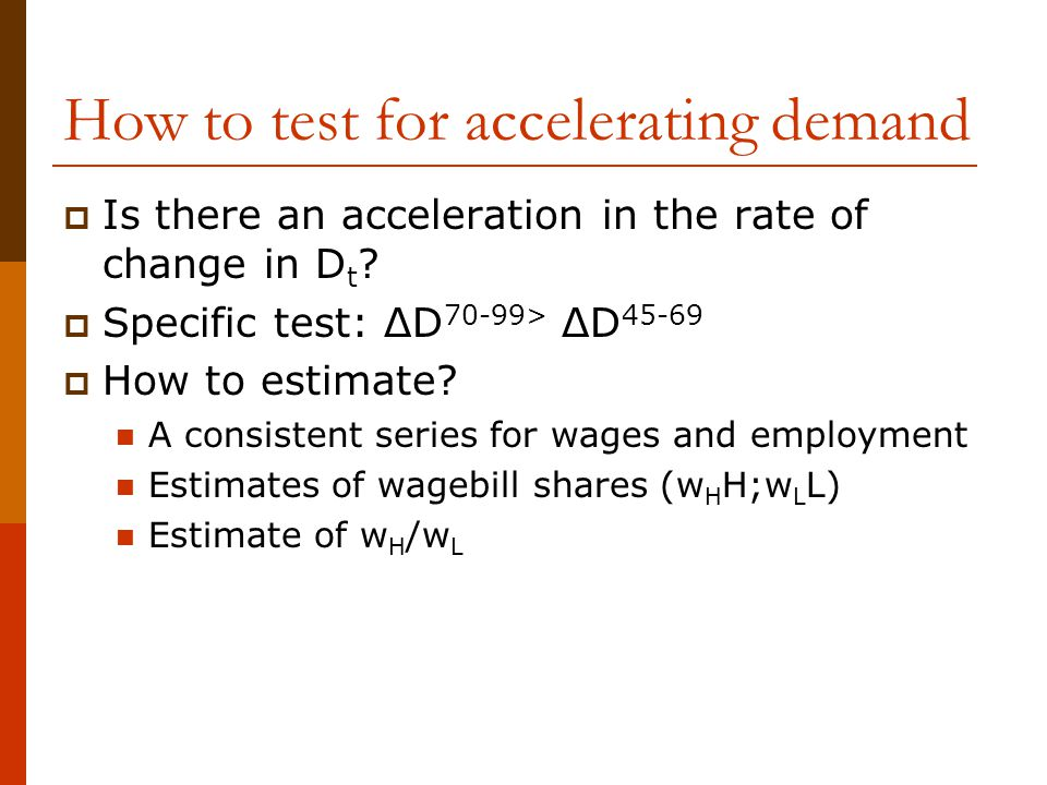 How to test for accelerating demand  Is there an acceleration in the rate of change in D t ?  Specific test: ΔD 70-99> ΔD 45-69  How to estimate? A