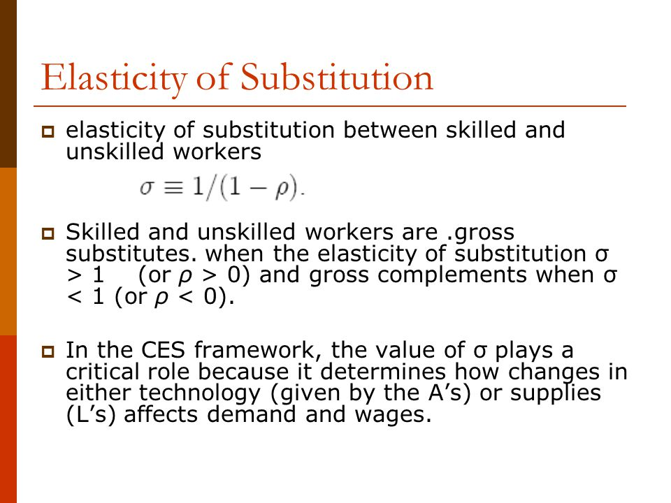 Elasticity of Substitution  elasticity of substitution between skilled and unskilled workers  Skilled and unskilled workers are.gross substitutes. w