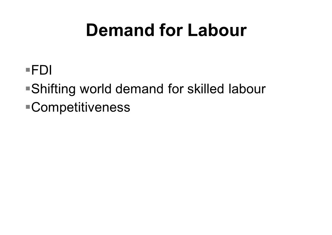 Demand for Labour  FDI  Shifting world demand for skilled labour  Competitiveness