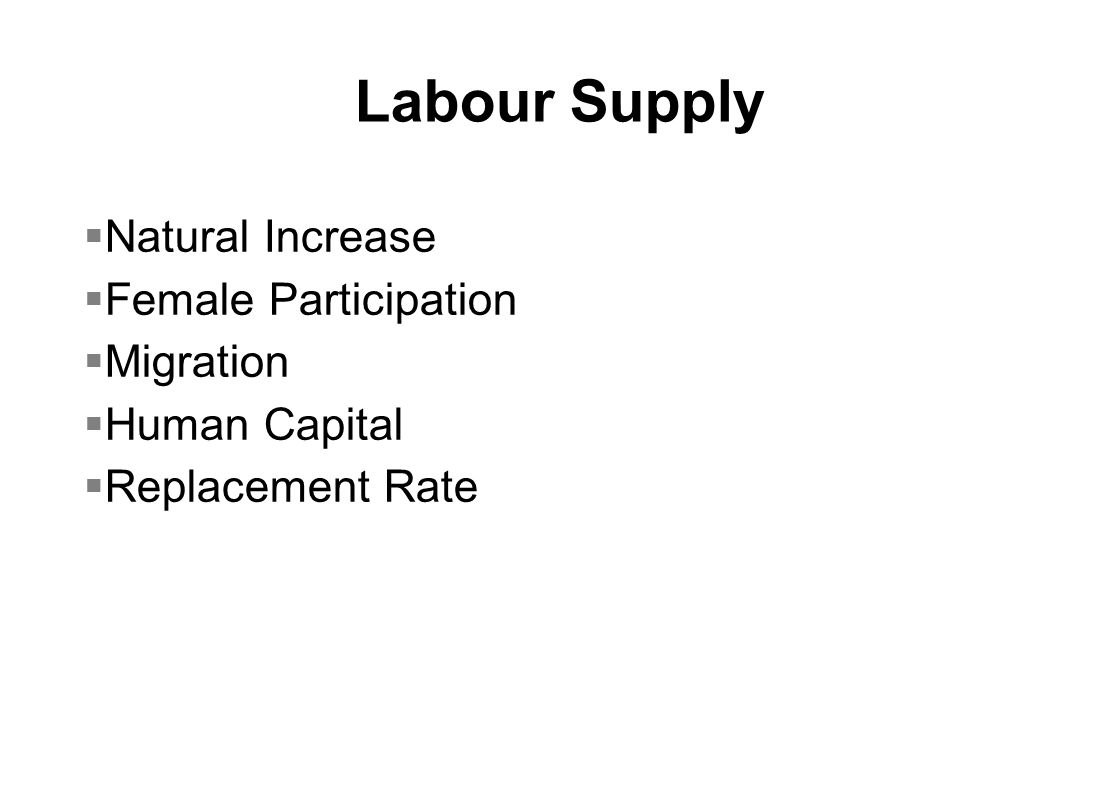 Labour Supply  Natural Increase  Female Participation  Migration  Human Capital  Replacement Rate