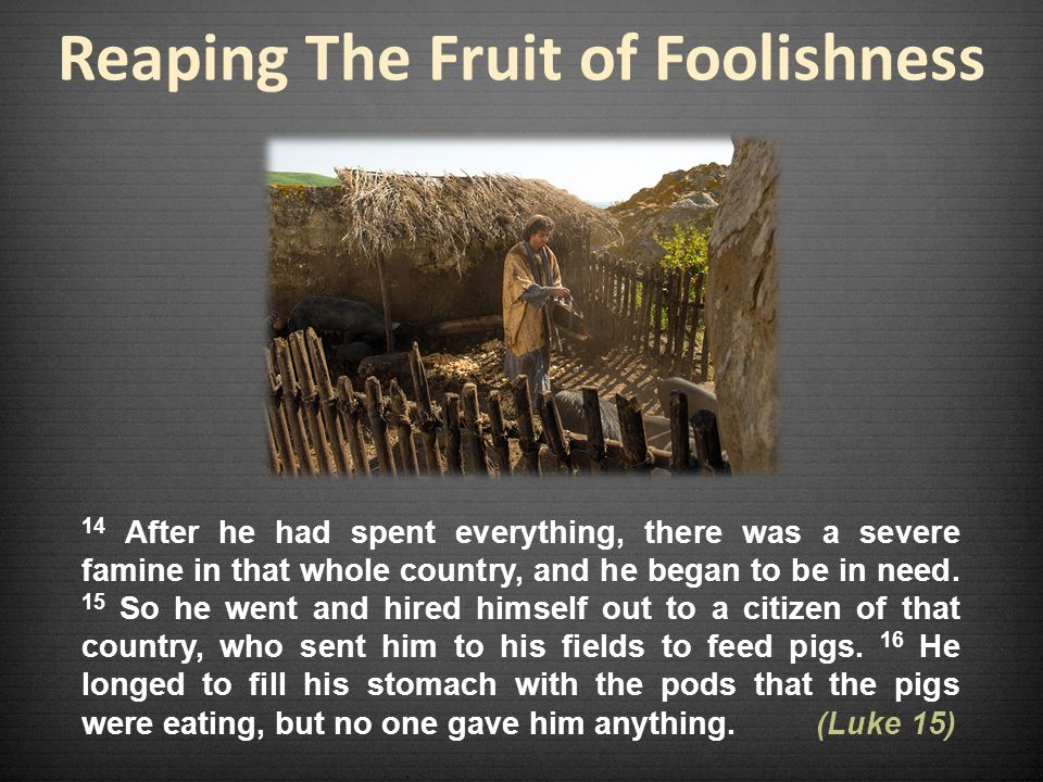 Reaping The Fruit of Foolishness 14 After he had spent everything, there was a severe famine in that whole country, and he began to be in need.