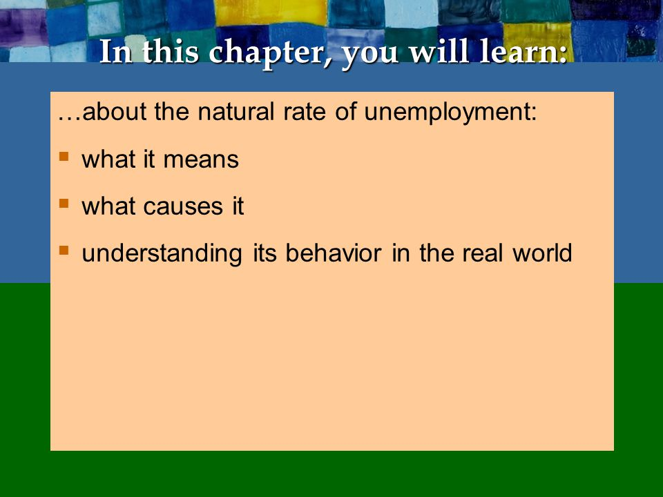 3 CHAPTER 6 Unemployment Natural rate of unemployment  Natural rate of unemployment: The average rate of unemployment around which the economy fluctuates.