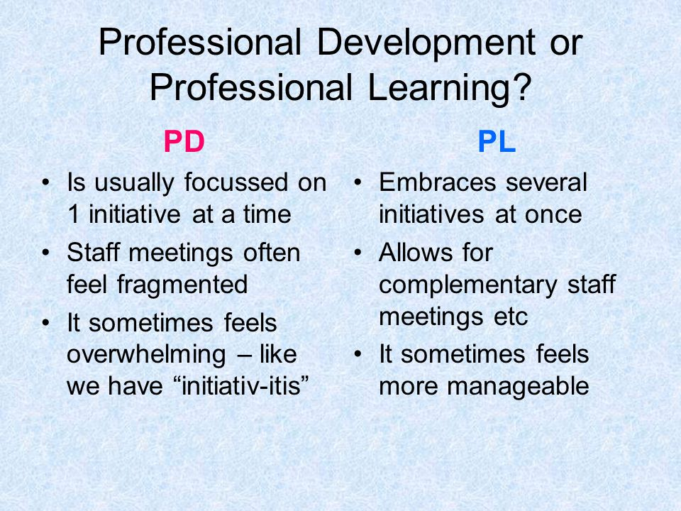 Professional Development or Professional Learning.