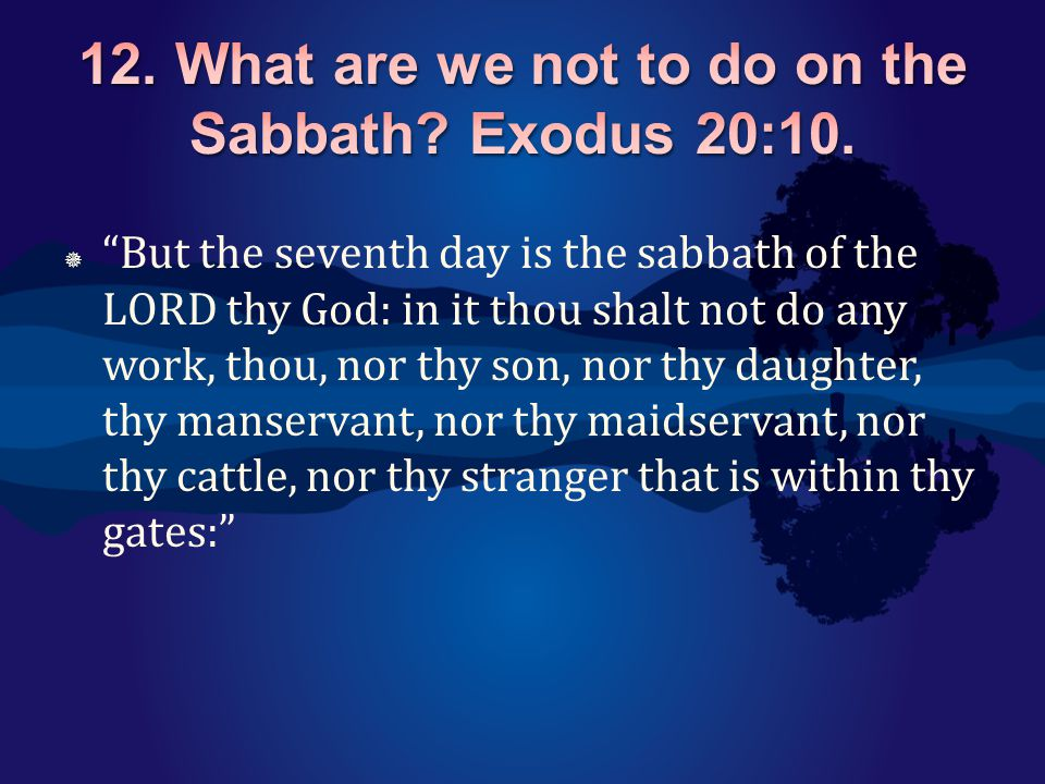 " ""But the seventh day is the sabbath of the LORD thy God: in it thou shalt not do any work, thou, nor thy son, nor thy daughter, thy manservant, nor"
